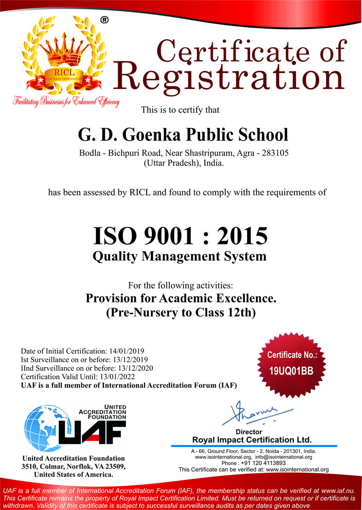 iso certified schools in india